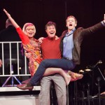 Stephen Colbert, Martha Plimpton, and Neil Patrick Harris doing a little tumbling