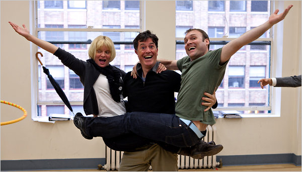 Martha Plimpton, Stephen Colbert, and Lee Wilkins rehearsing Company