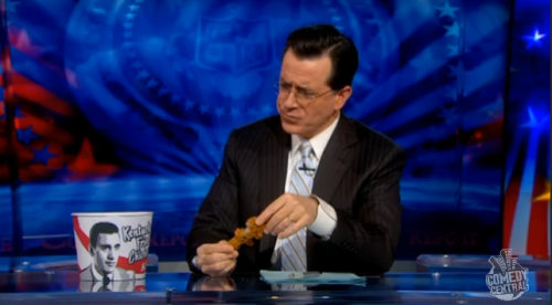 Stephen Colbert Eats Sergent Salinger Chicken - February 2, 2010