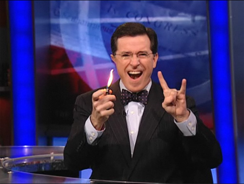 Stephen Colbert totally rocks the bowtie and devil horns