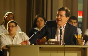 Stephen Colbert addresses students at Manhattan Bridges High School for DonorsChoose.org