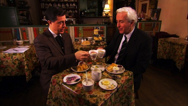 Stephen Colbert drinks tea