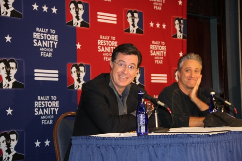 Stephen Colbert and Jon Stewart at the National Press Club