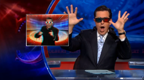 Stephen Colbert watches 3-D Catholic TV