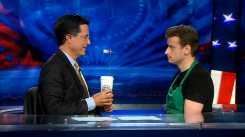 Stephen Colbert talks with Barry the Barista