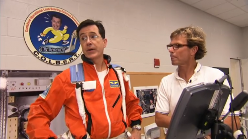 Stephen Colbert runs on his namesake C.O.L.B.E.R.T. treadmill